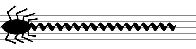 Kuvassa hämähäkin näköinen merkki, jota seuraa tremoloa muistuttava nuottimerkki, nuottiviivastolla.